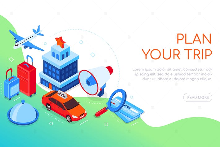 Thumbnail for Plan your trip - colorful isometric web banner