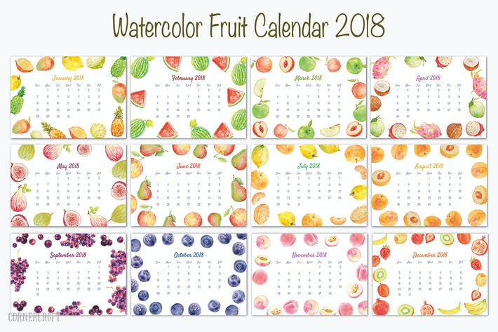 Thumbnail for 2018 Calendar Watercolor Fruit