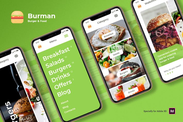Thumbnail for Burman - Burger & Food iOS UI Kit