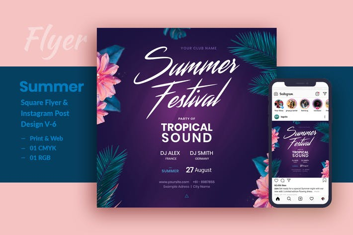 Thumbnail for Summer Festival Party Flyer & Instagram Post V-6