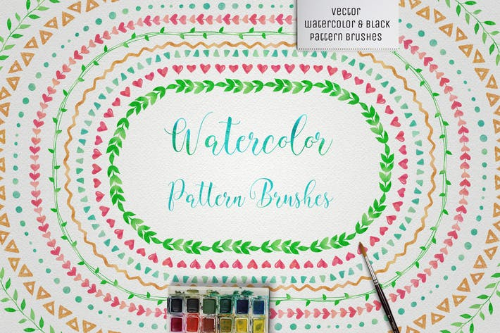 Thumbnail for Watercolor & Black Pattern Brushes