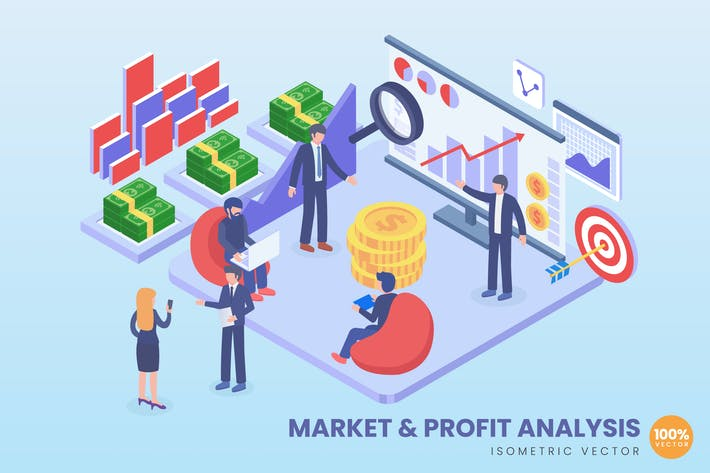 Thumbnail for Isometric Market And Profit Analysis Vector