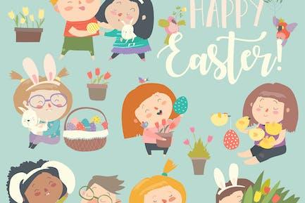 Lindos niños Pequeño con Tema de Pascua. Alegre Oriente