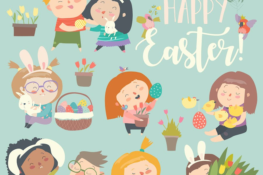Cute little children with Easter theme. Happy East