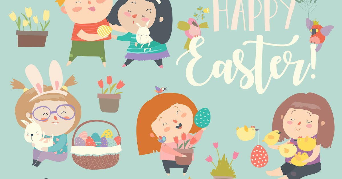 Download Cute little children with Easter theme. Happy East by masastarus