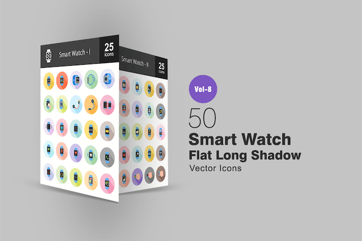 Thumbnail for 50 Smart Watch Flat Shadowed Icons