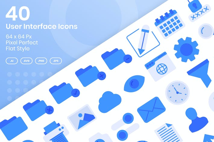 Thumbnail for 40 User Interface Icons Set - Flat