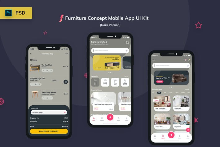 Cover Image For Furniture App UI Kit Dark Version