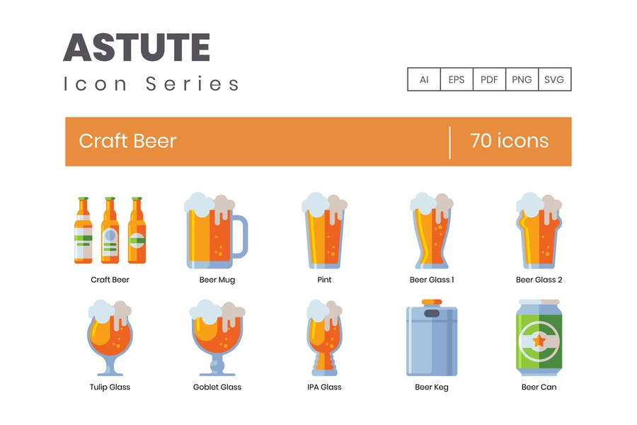 70 Craft Beer Icons - Astute Serie