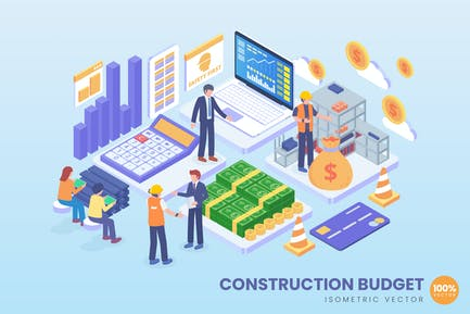 Isometrische Konstruktion Budget Vektor konzept