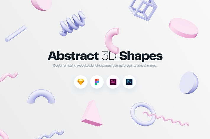 Thumbnail for Abstract 3D Shapes Illustration Kit