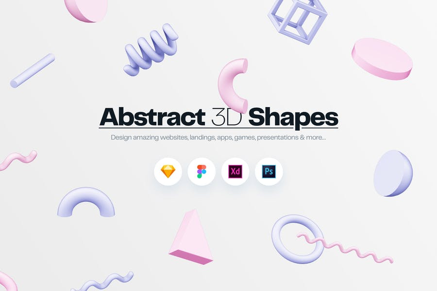 Abstract 3D Shapes Illustration Kit