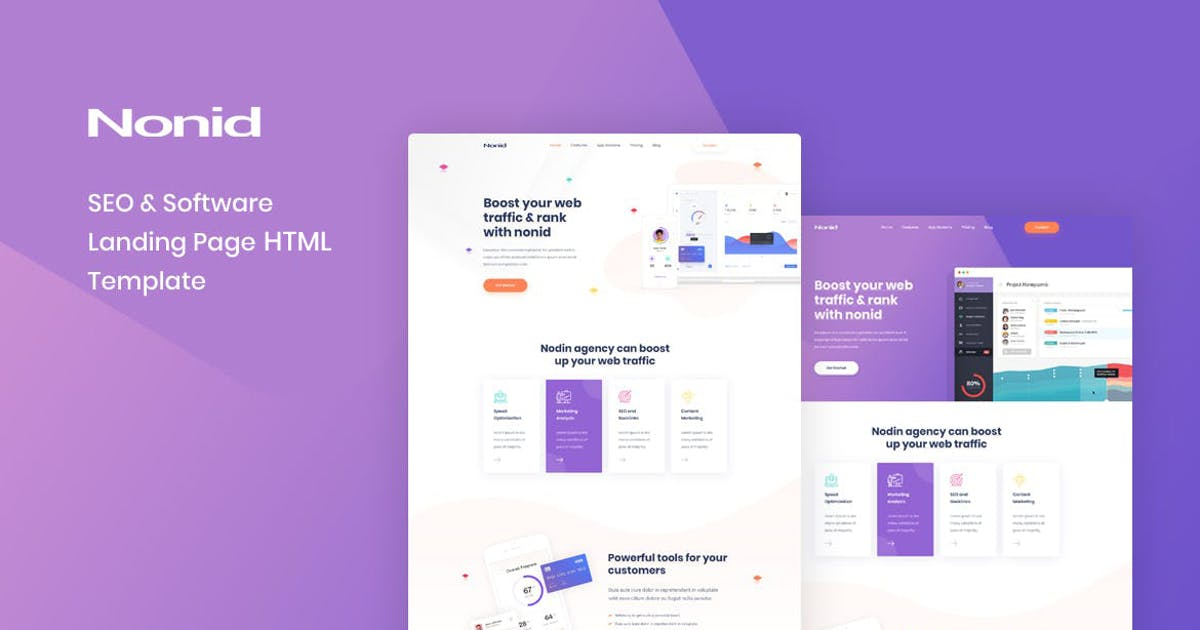Download Nonid - SEO & Software Landing Page HTML Template by Layerdrops