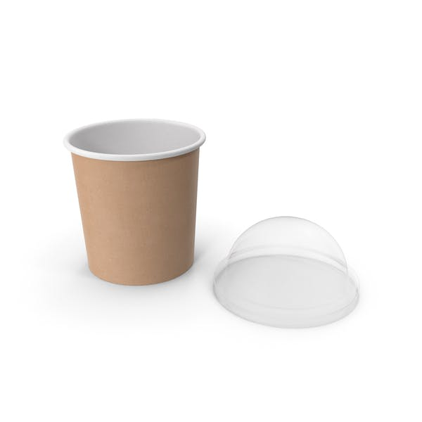 Thumbnail for Kraft Paper Food Cup with Clear Lid for Dessert 12 Oz 300 ml Open