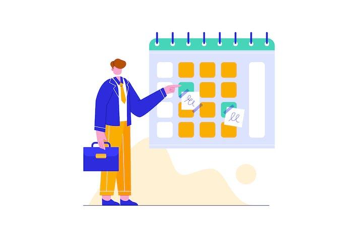 Kaufmann Managing Zeitplan Illustration