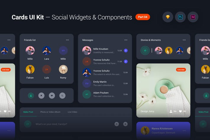 Cover Image For Cards UI Kit - Social Network Widgets & Components