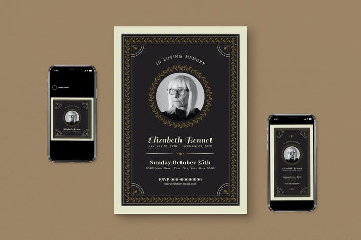 Thumbnail for Funeral Invitation With Roll Banner