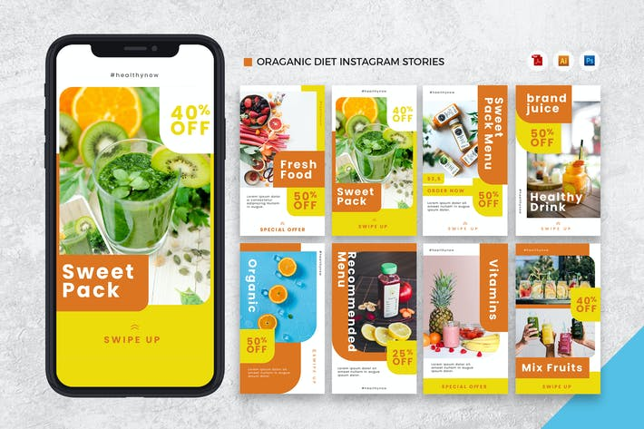 Thumbnail for Organic Diet Instagram Stories AI and PSD Template