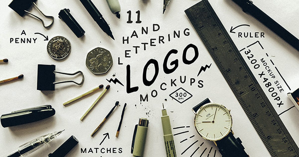 Hand Lettering Logo Mockups by august10