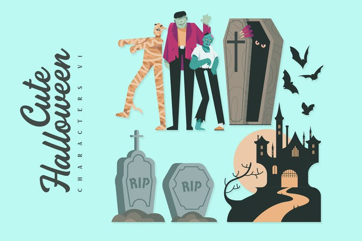 Thumbnail for Cute Halloween Character V2 - Illustrations