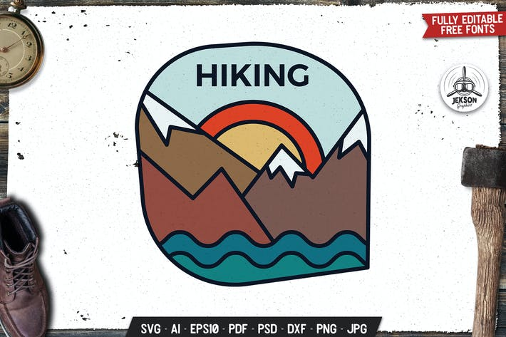 Thumbnail for Hiking Line Art Emblem Modern Badge. Retro Camp