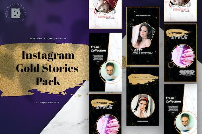 Thumbnail for Gold Brush Instagram Stories Pack