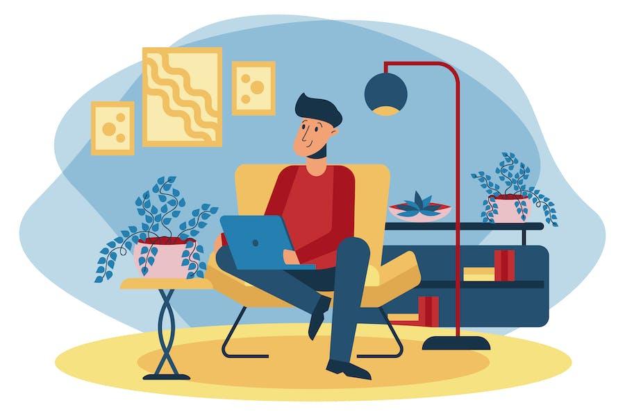 Иллюстрация домашнего офиса