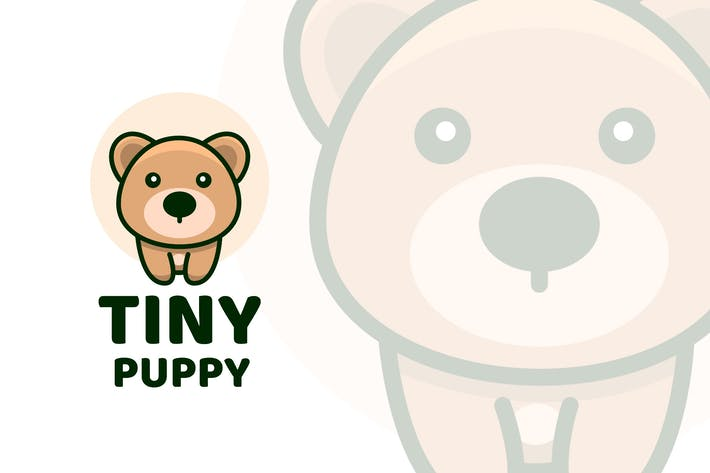 Tiny Puppy Cute Logo Template
