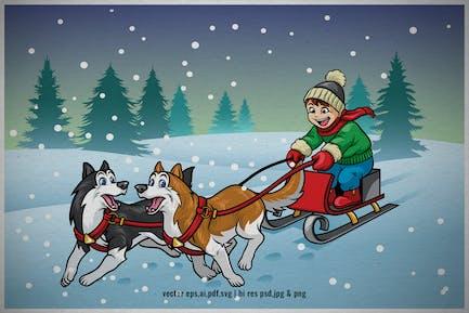 niño de dibujos animados a caballo trineo de perro en el invierno