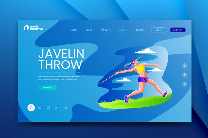 Thumbnail for Javelin Throw Web PSD and AI Vector Template