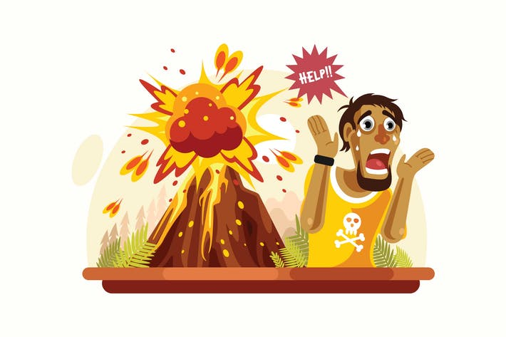 Thumbnail for Volcano Disaster Vector Illustration