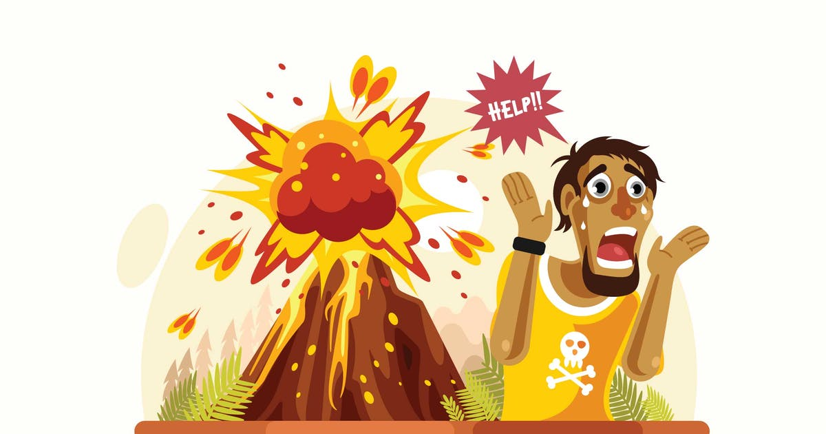 Download Volcano Disaster Vector Illustration by IanMikraz