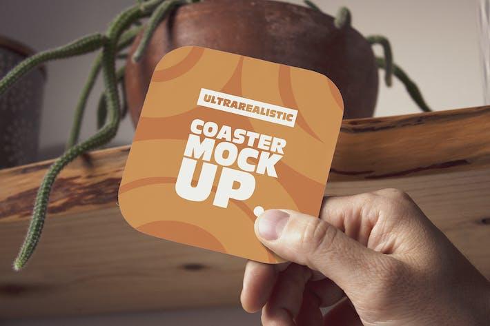 Thumbnail for Hand Square Coaster Mockup