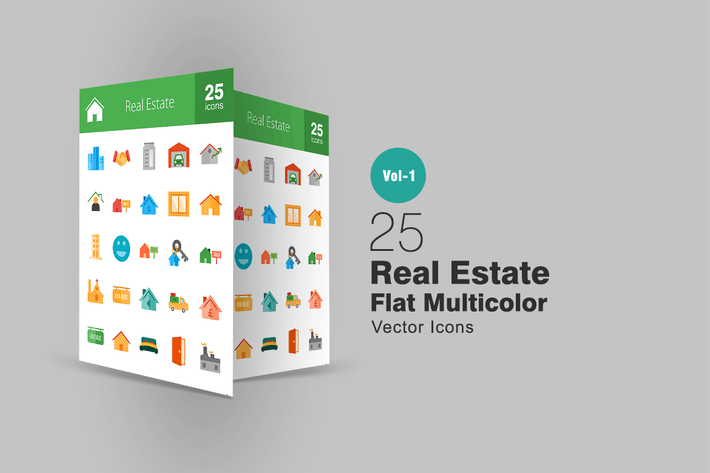 Thumbnail for 25 Real Estate Flat Multicolor Icons