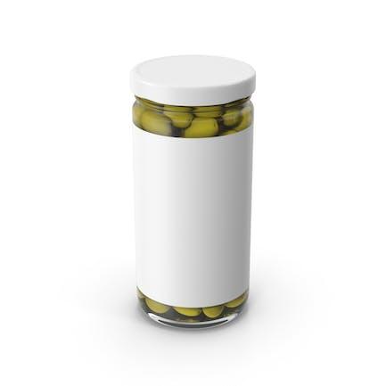 Oliven Jar weiß mit Etikett