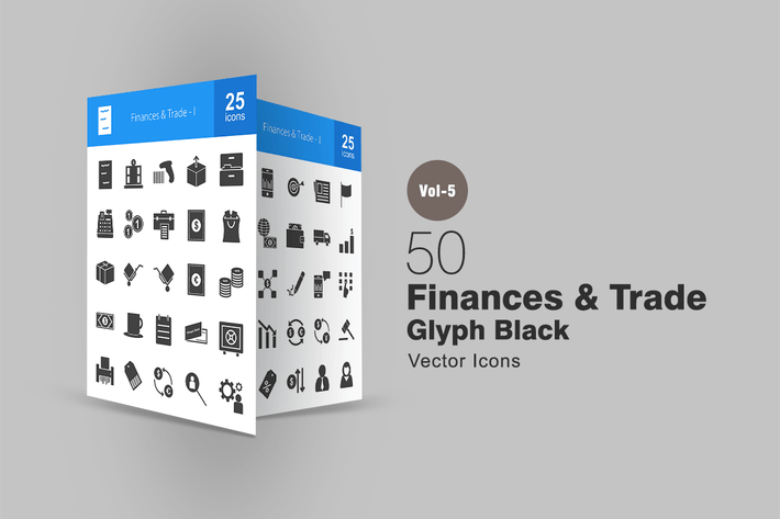 Thumbnail for 50 Finances & Trade Glyph Icons