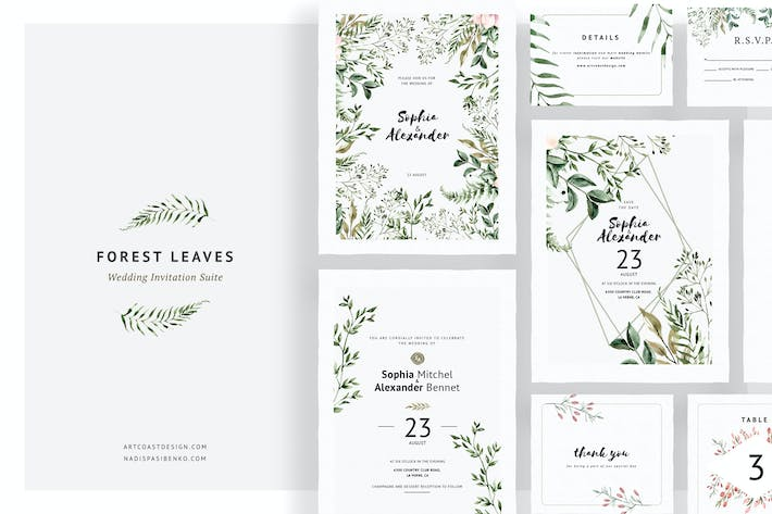 Thumbnail for Forest Leaves Wedding Invitations