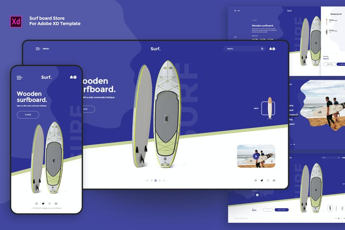 Creative Surf board Store landing Page XD