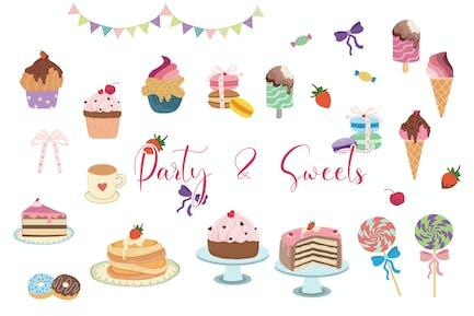 Party & Süßigkeiten handgezeichnet