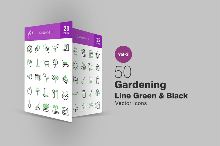 Thumbnail for 50 Gardening Line Green & Black Icons