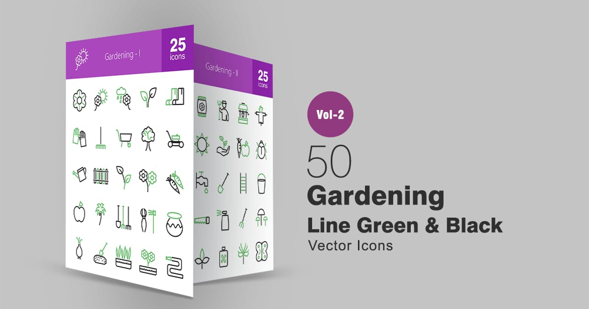 Download 50 Gardening Line Green & Black Icons by Unknow