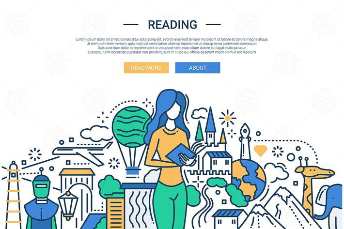 Thumbnail for Reading - line design website banner