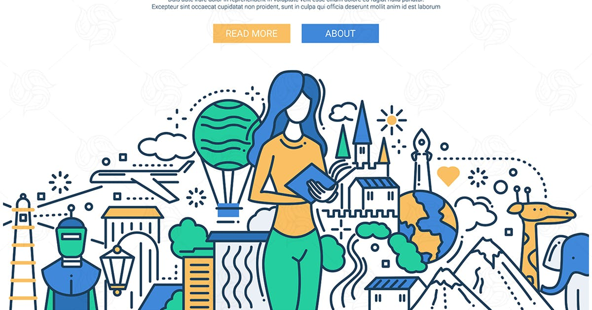 Download Reading - line design website banner by BoykoPictures