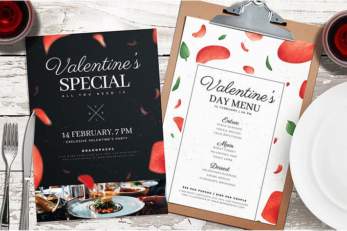 Thumbnail for Valentines Day Menu / Poster Template