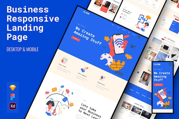 Thumbnail for Clean Responsive Business Landing Page