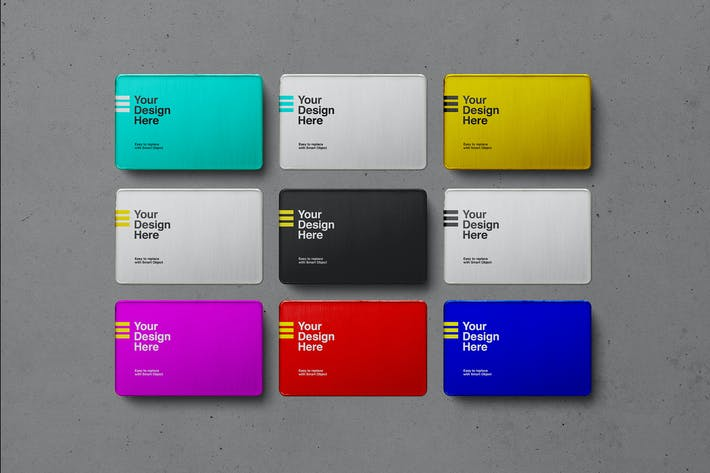 Thumbnail for Metal Business Card Set Mockups