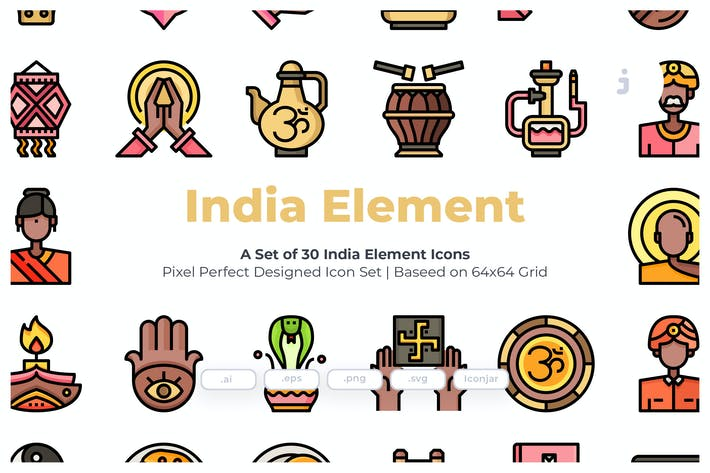 Thumbnail for 30 India Element Icons