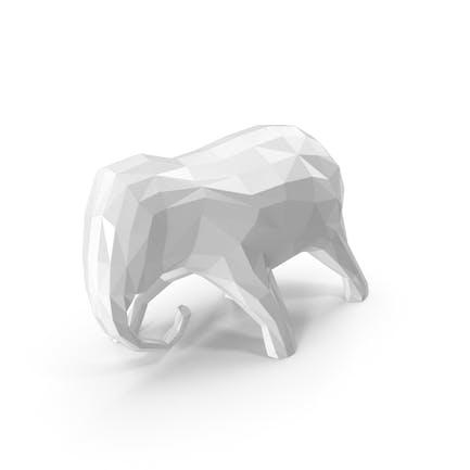 Niedrige Poly-weiße Elefanten-Skul