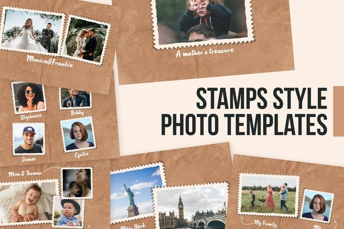 Thumbnail for Stamps Style Photo Templates