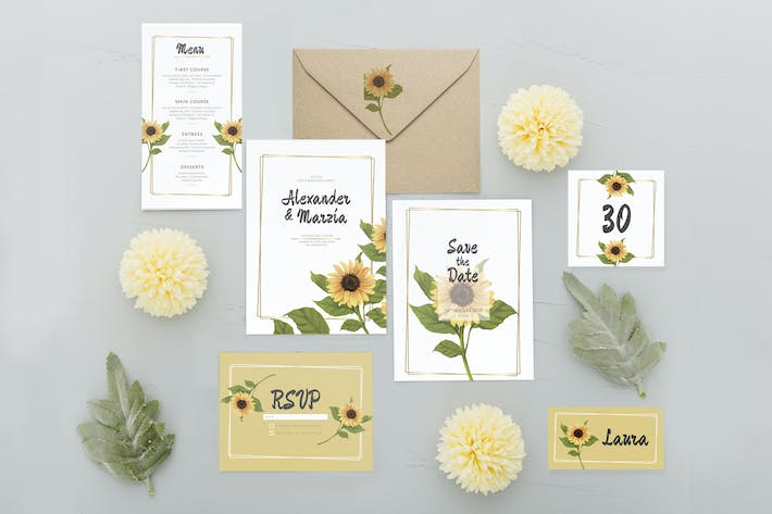 Thumbnail for Simple Sunflower - Wedding Invitation
